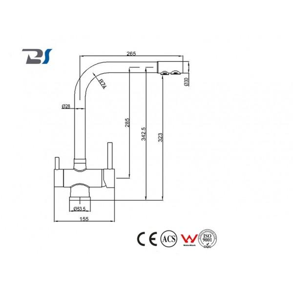 Baterie cu 3 căi neagră pentru apa filtrata, caldă/rece